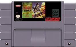 Cartridge artwork for Jungle Strike on the Nintendo SNES.
