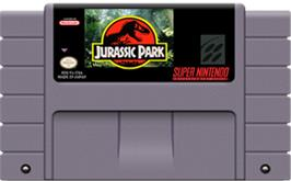Cartridge artwork for Jurassic Park on the Nintendo SNES.