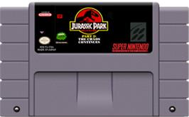 Cartridge artwork for Jurassic Park Part 2: The Chaos Continues on the Nintendo SNES.