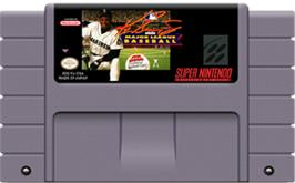 Cartridge artwork for Ken Griffey Jr Presents Major League Baseball on the Nintendo SNES.