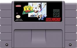Cartridge artwork for Kick Off on the Nintendo SNES.