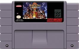 Cartridge artwork for King Arthur & the Knights of Justice on the Nintendo SNES.
