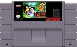 Cartridge artwork for Lester the Unlikely on the Nintendo SNES.