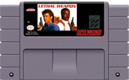 Cartridge artwork for Lethal Weapon on the Nintendo SNES.