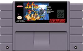 Cartridge artwork for Lufia & the Fortress of Doom on the Nintendo SNES.