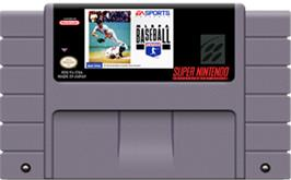 Cartridge artwork for MLBPA Baseball on the Nintendo SNES.