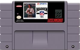 Cartridge artwork for Madden NFL '94 on the Nintendo SNES.