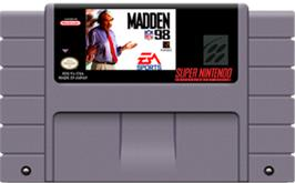 Cartridge artwork for Madden NFL '98 on the Nintendo SNES.