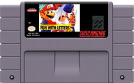 Cartridge artwork for Mario's Early Years: Fun With Letters on the Nintendo SNES.