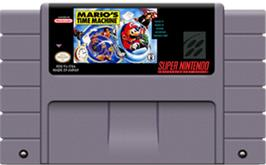 Cartridge artwork for Mario's Time Machine on the Nintendo SNES.
