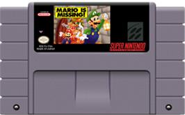 Cartridge artwork for Mario is Missing! on the Nintendo SNES.