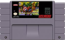 Cartridge artwork for Marvel Super Heroes in War of the Gems on the Nintendo SNES.