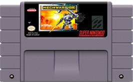 Cartridge artwork for MechWarrior on the Nintendo SNES.