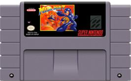 Cartridge artwork for Mega Man 7 on the Nintendo SNES.