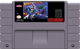 Cartridge artwork for Mega Man X on the Nintendo SNES.