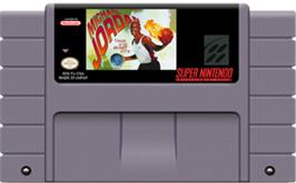 Cartridge artwork for Michael Jordan:  Chaos in the Windy City on the Nintendo SNES.