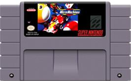 Cartridge artwork for Micro Machines on the Nintendo SNES.