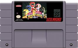 Cartridge artwork for Mighty Morphin Power Rangers: The Fighting Edition on the Nintendo SNES.