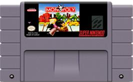 Cartridge artwork for Monopoly on the Nintendo SNES.