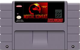 Cartridge artwork for Mortal Kombat on the Nintendo SNES.