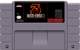 Cartridge artwork for Mortal Kombat 3 on the Nintendo SNES.