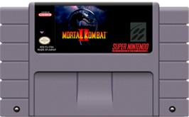 Cartridge artwork for Mortal Kombat II on the Nintendo SNES.