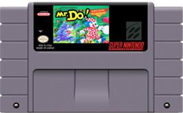 Cartridge artwork for Mr. Do! on the Nintendo SNES.