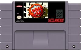 Cartridge artwork for NBA Jam on the Nintendo SNES.