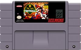 Cartridge artwork for NCAA Football on the Nintendo SNES.