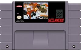 Cartridge artwork for NFL Quarterback Club '96 on the Nintendo SNES.