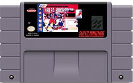 Cartridge artwork for NHLPA Hockey '93 on the Nintendo SNES.