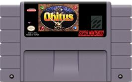Cartridge artwork for Obitus on the Nintendo SNES.