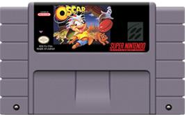 Cartridge artwork for Oscar on the Nintendo SNES.