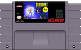 Cartridge artwork for Out of This World on the Nintendo SNES.