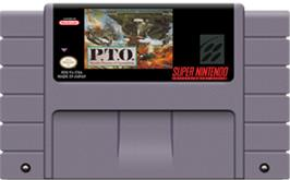 Cartridge artwork for P.T.O.: Pacific Theater of Operations on the Nintendo SNES.