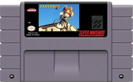 Cartridge artwork for Paperboy 2 on the Nintendo SNES.
