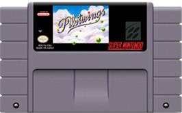 Cartridge artwork for Pilotwings on the Nintendo SNES.