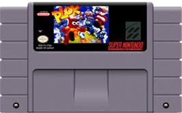 Cartridge artwork for Plok on the Nintendo SNES.