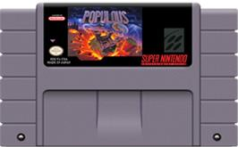 Cartridge artwork for Populous on the Nintendo SNES.