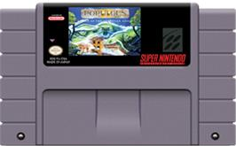 Cartridge artwork for Populous II: Trials of the Olympian Gods on the Nintendo SNES.