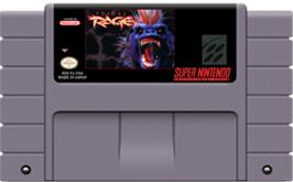 Cartridge artwork for Primal Rage on the Nintendo SNES.