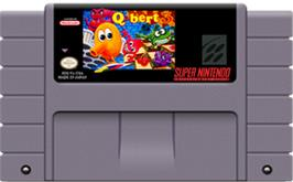 Cartridge artwork for Q*Bert 3 on the Nintendo SNES.
