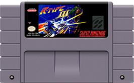 Cartridge artwork for R-Type III: The Third Lightning on the Nintendo SNES.