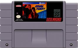 Cartridge artwork for Rival Turf on the Nintendo SNES.