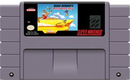 Cartridge artwork for Road Runner's Death Valley Rally on the Nintendo SNES.