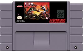 Cartridge artwork for Run Saber on the Nintendo SNES.