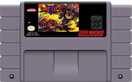 Cartridge artwork for SWAT Kats: The Radical Squadron on the Nintendo SNES.
