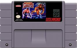 Cartridge artwork for Saturday Night Slam Masters on the Nintendo SNES.