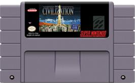 Cartridge artwork for Sid Meier's Civilization on the Nintendo SNES.