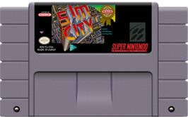 Cartridge artwork for SimCity on the Nintendo SNES.